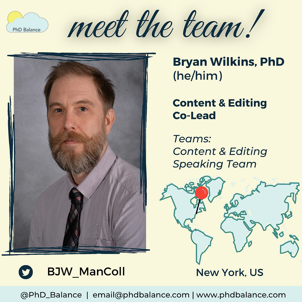 Meet the team light yellow graphic, There is a photo of  Bryan Text reads Bryan, Wilkins, PhD (he/him), content and editing co-lead, teams content and editing, speaking team. Twitter handle BJW_ManColl. Theres also a map of the world with a red pin pointing to New York, US