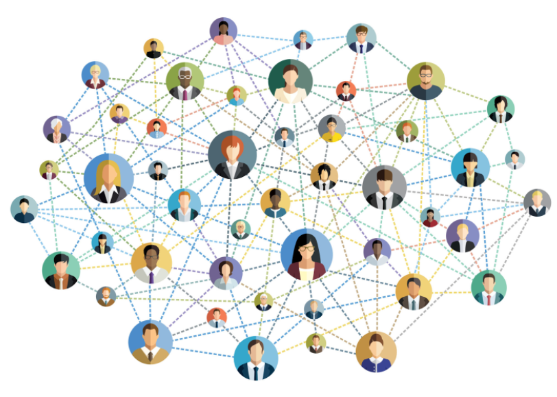 Graphic showing a network of people, there are about 30 different bubbles with a different person in each, there are multiple lines coming out of each bubble to connect it to some of the other bubbles.