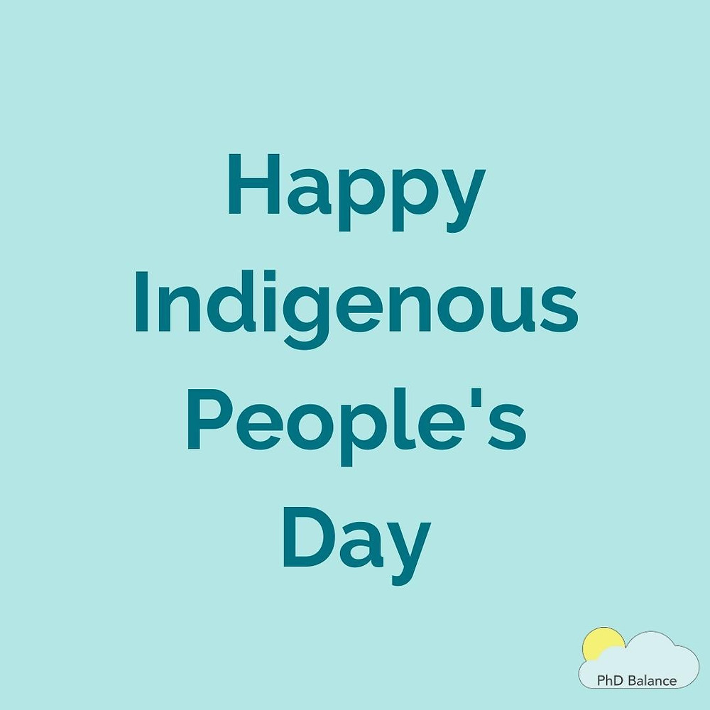 ight blue background, text reads Happy Indigenous People's Day