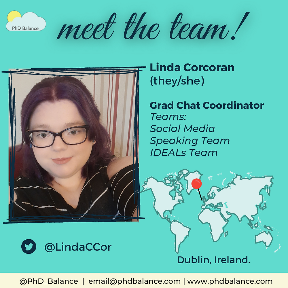Meet the team turquoise graphic, There is a photo of Linda Corcoran. Text reads Linda Corcoran (they/she) Grad Chat coordinator, team social media, speaking team, IDEALs team. Twitter handle LindaCCor. There is also a map of the world with a red pin pointing to Dublin Ireland