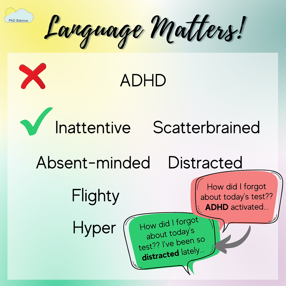 Graphic text reads Instead of: ADHD  Use:  Inattentive Distracted Absent-minded Scatterbrained Flighty Hyper Example: How did I forget today's test??? ADHD activated.... VERSUS How did I forget about today's test??? I've been so distracted lately...