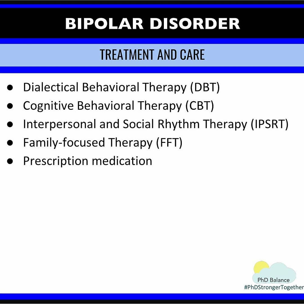 Graphic - Bipolar Disorder Treatment and Care. All text in post.