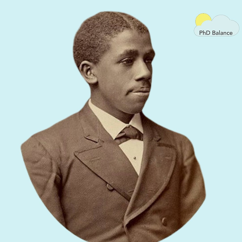 Picture of Dr Edward Bouchet on a light blue background.