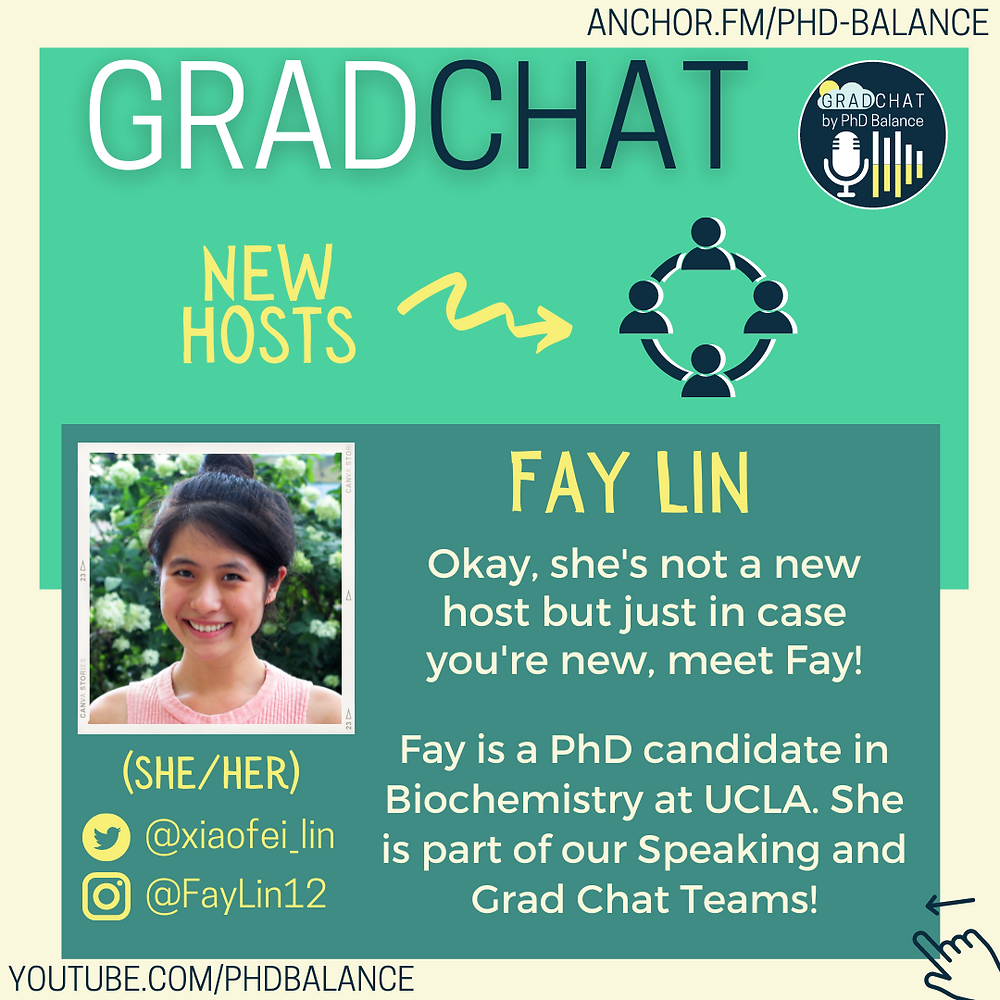 Graphic introducing Fay Lin, there is a headshot of Fay, All text in post.