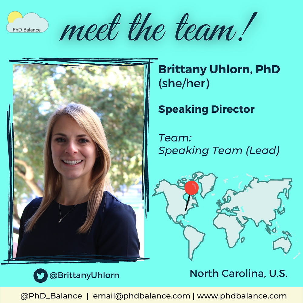Meet the team light green graphic, There is a photo of Dr Brittany Uhlorn. Text introducing Brittany as in the post. Twitter handle BrittanyUhlorn. There is also a map of the world with a red pin pointing to NC, US