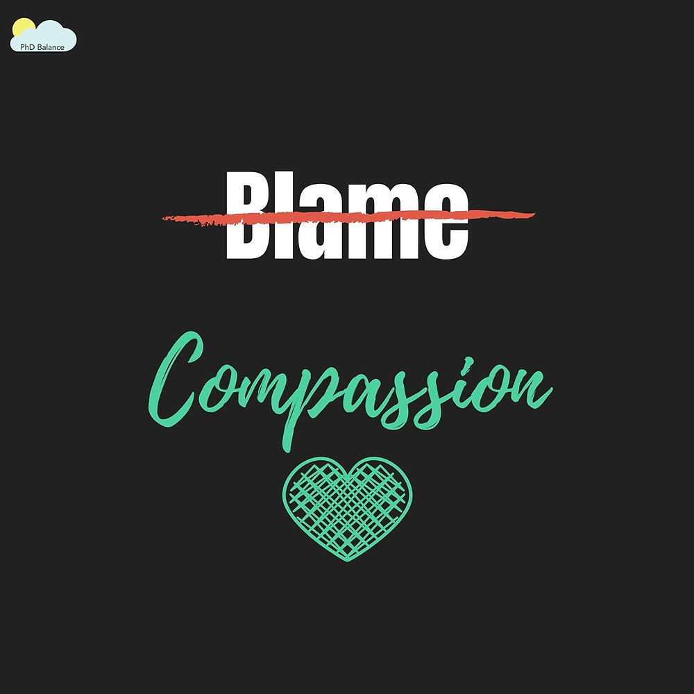 Black graphic, with the word Blame, which is crossed out, the word compassion is written under it. There is also a heart on the graphic.