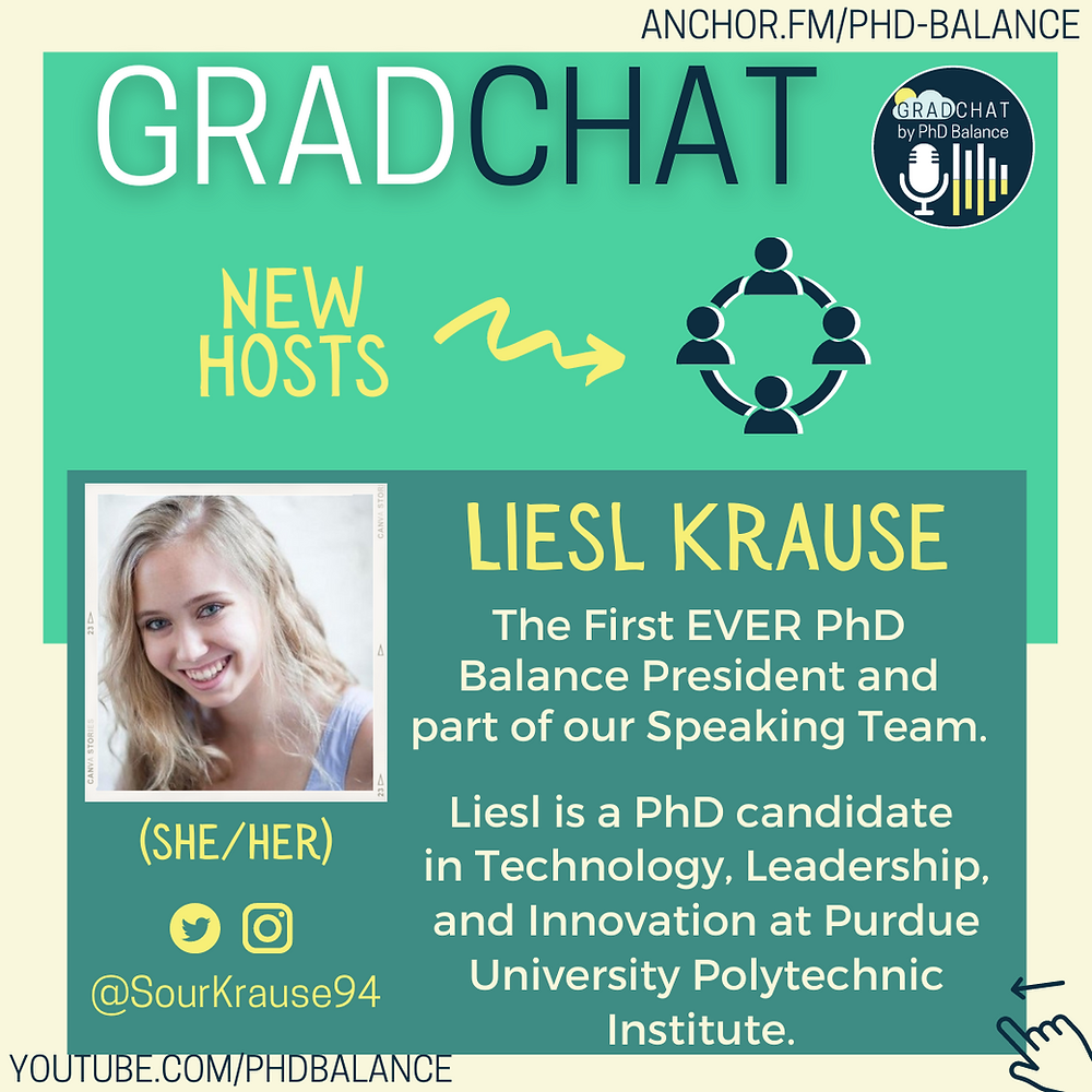Graphic introducing Liesl Krause, there is a headshot of Liesl. All text in post.
