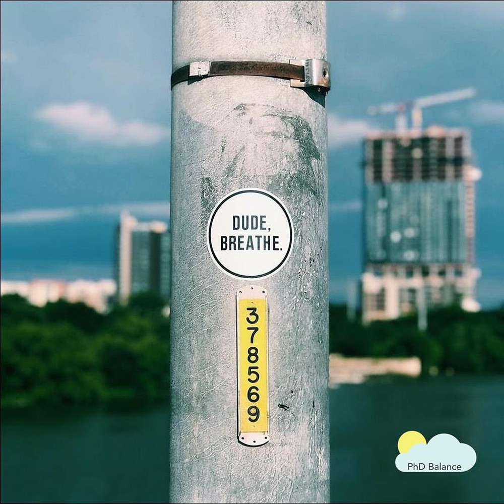 Picture of a sticker on a street lamp, the sticker says Dude, Breathe. There is a building in the background out of focus.