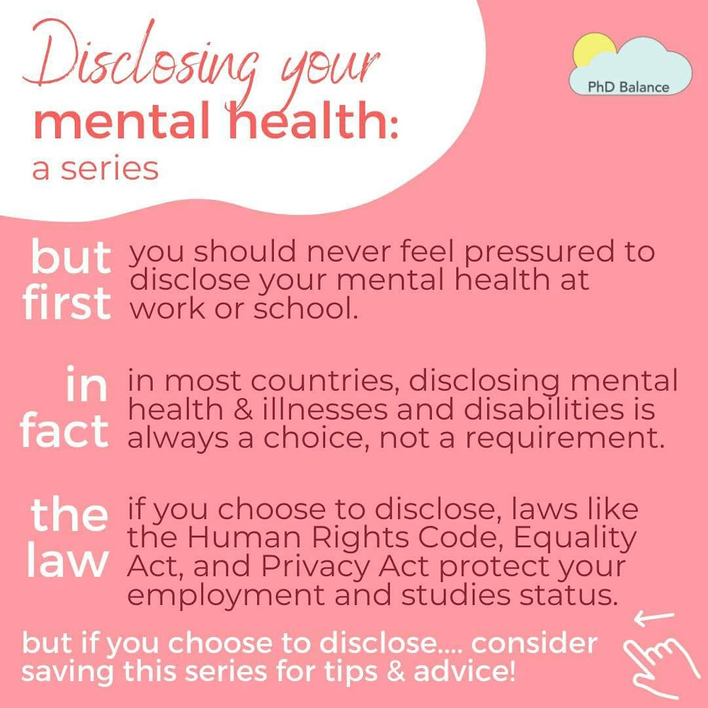 Disclosing your mental health series graphic about not feeling pressured to disclose your mental health. It also references the law, exact text in post.