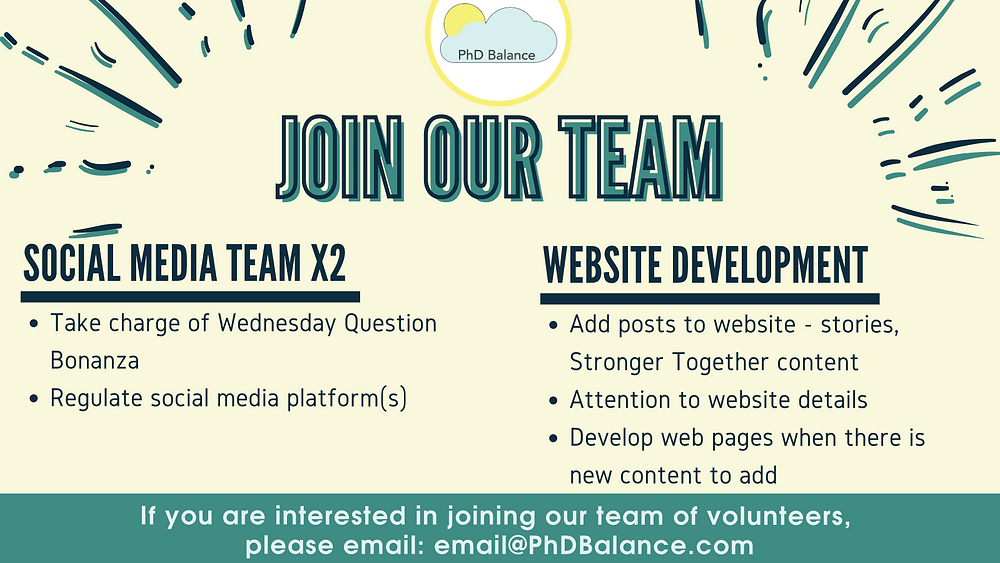 Graphic - Text reads Join Our Team, 1. Social Media Team x 2 Take charge of Wednesday Question Bonanza, Regulate social media platform(s). 2. Website Development - add posts to website - stories, stronger together content, attention to website details, develop web pages when there is new content to add. Footer reads If you are interested in joining our team of volunteers, please email email@PhDBalance.com