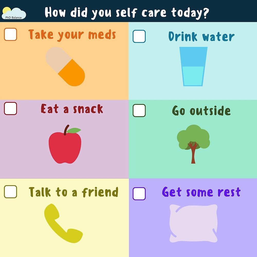 Graphic titled how did you self-care today. The graphic is a check-list of six everyday self-care tasks with boxes to tick when each one is done. The self-care tasks are take your meds, drink water, eat a snack, go outside, talk to a friend and get some rest.