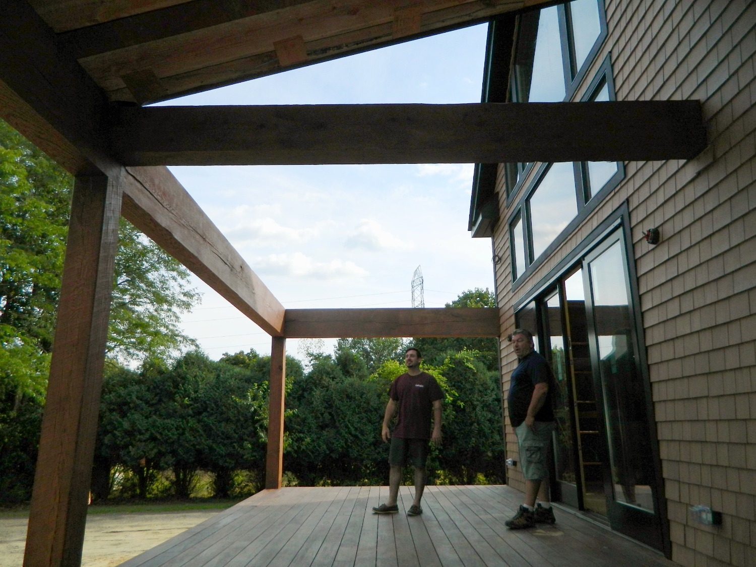 Exposed timber frame deck