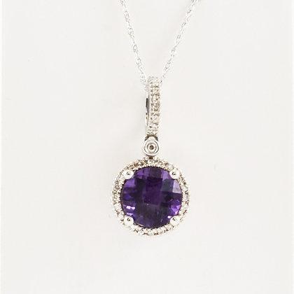 9ct Diamond Amethyst Pendant