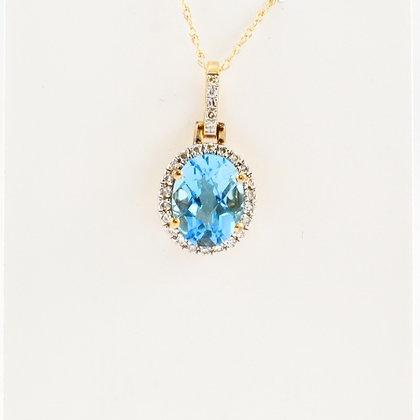 14ct Diamond Topaz Pendant