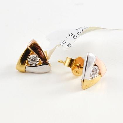 9ct Diamond Multi-Tone Studs