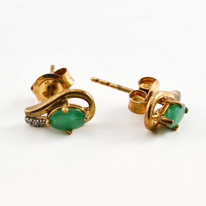 9ct Diamond Emerald Studs