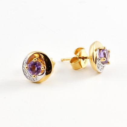 9ct Diamond Sapphire Studs