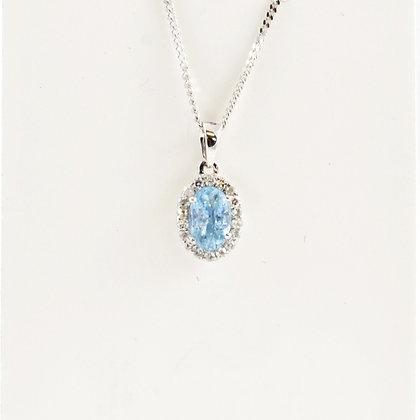 9ct Diamond Aqua Pendant