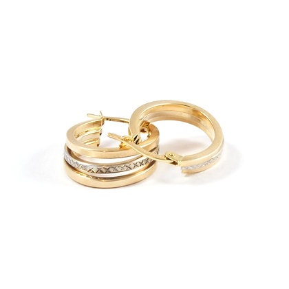 14ct Two Tone Hoops