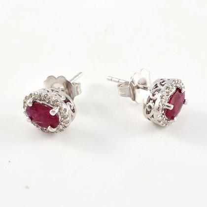 14ct Diamond Ruby Studs