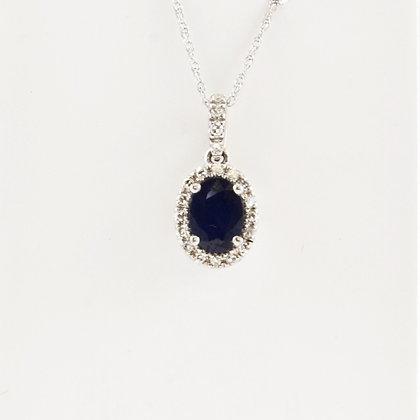 14ct Diamond Sapphire Pendant