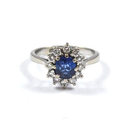 18ct Platinum Diamond Sapphire
