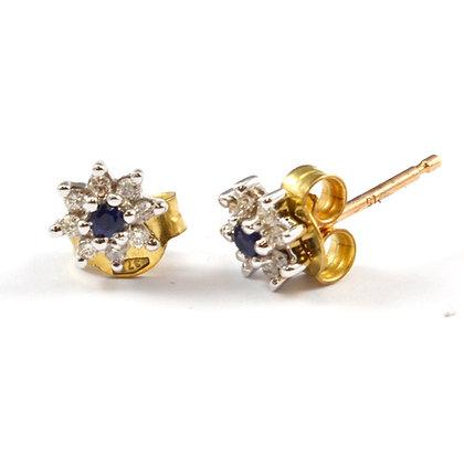 9ct Diamond & Sapphire Studs