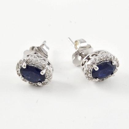 14ct Diamond Sapphire Studs