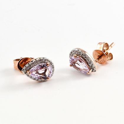 9ct Rose Diamond Sapphire Studs