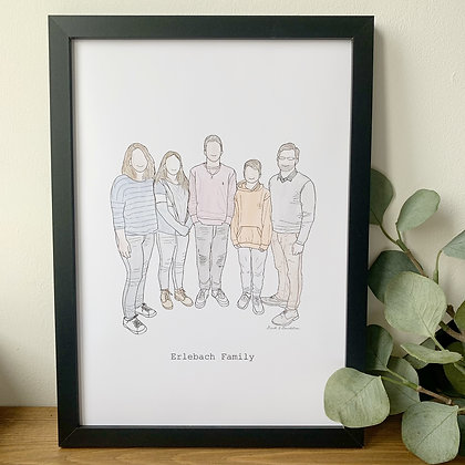 Personalised Family Illustration - A4 Print