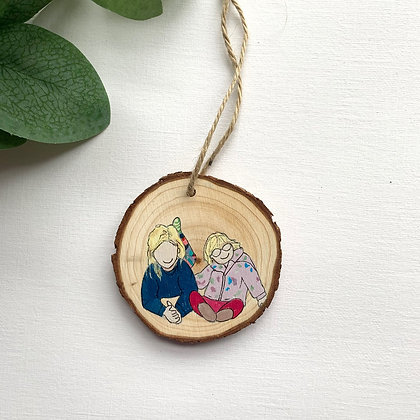Small Hand Painted Family Portrait Decoration