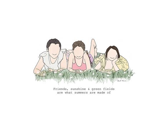 A4 Print - Friends Illustrated Portrait
