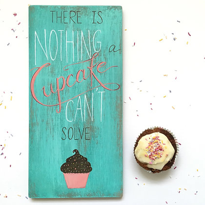 Cupcake Wood Sign Decor