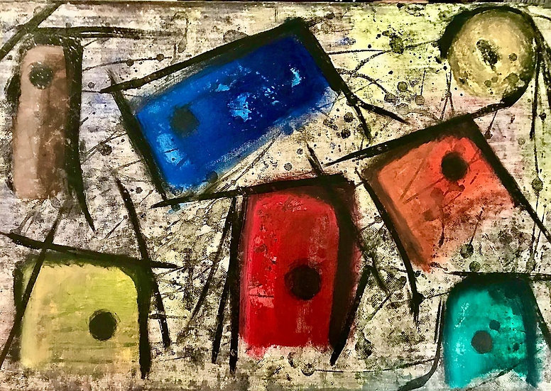 """Pacman 24"""" x 36"""" acrylic on stretched canvas"""