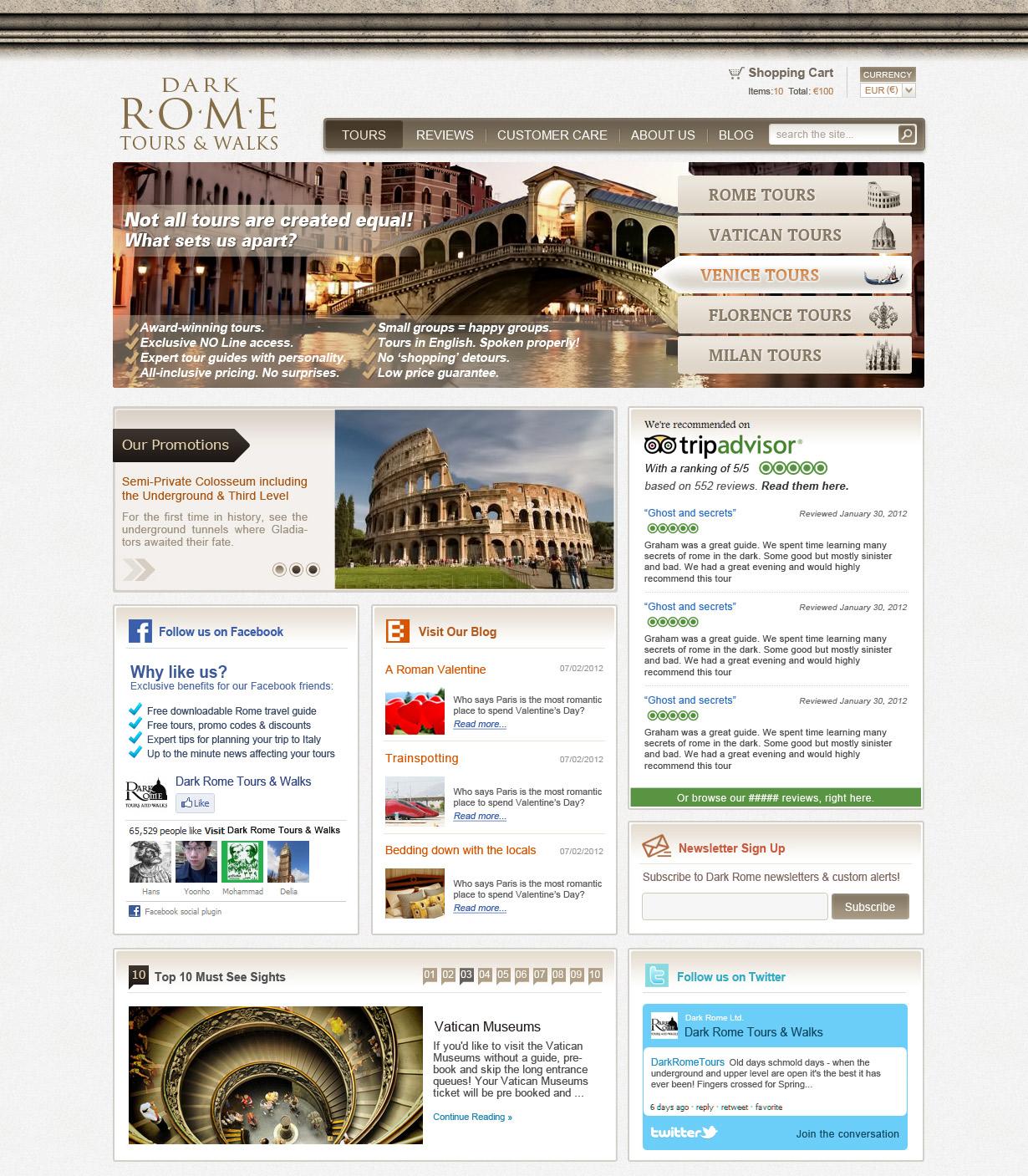 Dark Rome Tours Web