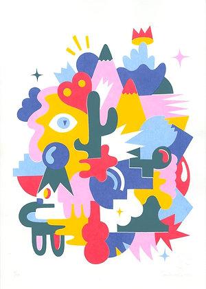 """Sérigraphie  """"cactus love"""""""