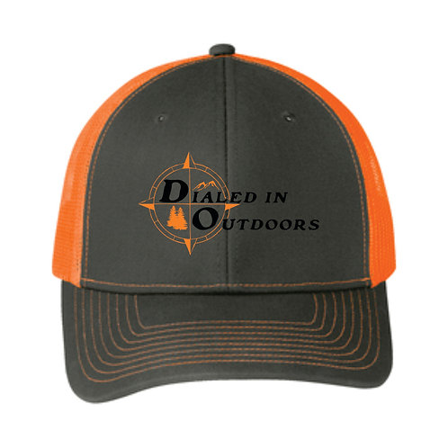 Dialed in Outdoors Grey steel and neon orange hat