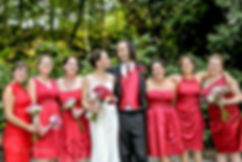 Wedding portrait bride, groom and bridesmailds, Asheville wedding photographers