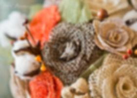 Wedding rings on a burlap wedding bouquet, asheville wedding photographers