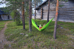 Relaxing in log cabin Lapland