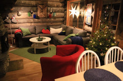 Christmas in log cabin Lapland