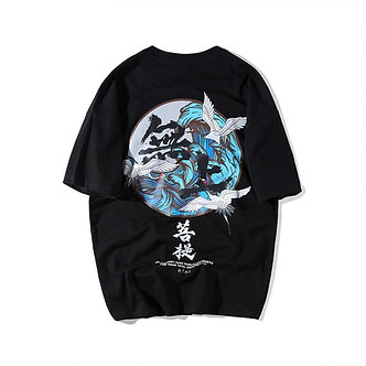 Black Japanese Wave Vintage Tidal Tee Chinese Artwork