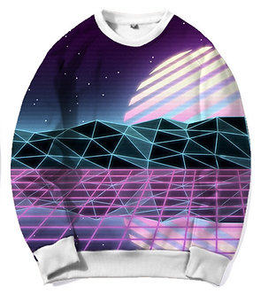 Digital Sunet Snythwave Chillwave Crew Neck Kashisekai Vaporwave Aesthetic Clothing