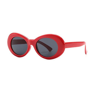 Red High Fashion Oval Shaped Goggle Glasses