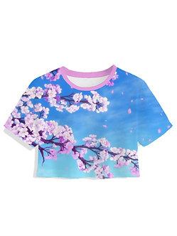 Sakura Bloom Women's Crop Top Kashisekai Synthwave Aesthetic Clothing