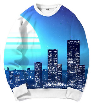 Electric City Snythwave Chillwave Crew Neck Kashisekai Vaporwave Aesthetic Clothing