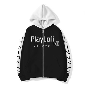 """Playlofi"" Allover Print Zip Hoodie"
