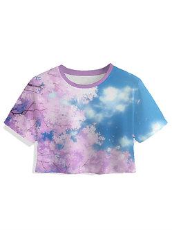 Sakura Bloom Women's Crop Top Kashisekai Vaporwave Aesthetic Clothing