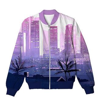 City Limits Vaporwave Allover Print Bomber Jacket