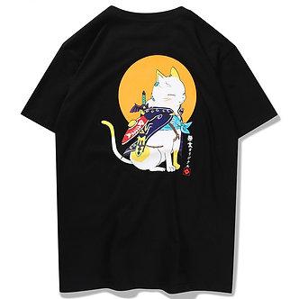 Yellow Moon Kat Shirt Japanese Style T Shirt